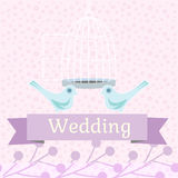 Barwiona ślubna ilustracja z miłość gołąbkami Zdjęcie Royalty Free