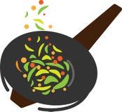 Barwiona ikony wok niecka i smażący warzywa royalty ilustracja