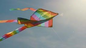 Barwiona kania w niebieskim niebie Puszka strzelać kania rozwija przeciw niebieskiemu niebu i biel chmurom zbiory wideo