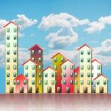 Barwiona miastowa aglomeracja przedmieście - pojęcie ilustracja ilustracja wektor