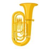 Barwiona mieszkanie stylu tuba muzycznego instrumentu wektoru ilustracja ilustracji