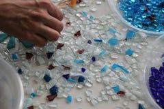 Barwiona mozaiki i bielu powierzchnia Fotografia Royalty Free