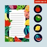 Barwiona owocowa strona ilustracji