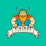 Barwiona płaska sztuki ilustracja kreskówka Viking z sztandarem royalty ilustracja