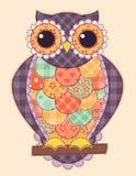 Barwiona patchwork sowa Zdjęcia Stock