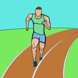Barwiona ręka rysujący biegacz Zdjęcia Stock