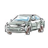 Barwiona ręka rysujący samochód na białym tle, obrazkowy sedan Zdjęcie Stock