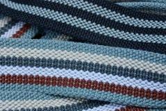 Barwiona tkaniny tekstura od pasiaści dłudzy paski obrazy stock