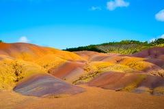 Barwiona ziemia w Mauritius Zdjęcia Stock