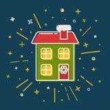 Barwiona zima domu ikona w cienkim kreskowym stylu royalty ilustracja