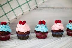 Barwione babeczki słodkie Zdjęcie Stock