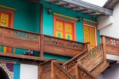 Barwione fasady w kolumbijskim miasteczku Obraz Royalty Free