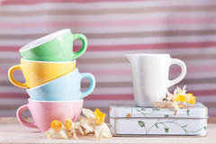 Barwione filiżanki z miotaczem retro daffodils rocznikiem i Obrazy Royalty Free