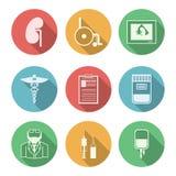 Barwione ikony dla nephrology Zdjęcie Royalty Free