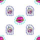 Barwione jaskrawe menchie wręczają patroszonym markierom jedzenie i cukierki bezszwowy wzór royalty ilustracja