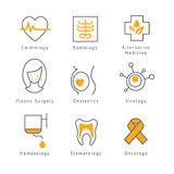Barwione Medyczne opiek zdrowotnych ikony Obraz Stock