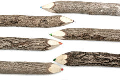 Barwione Ołówkowe kredki Ustawiać w Szorstkiej Textured barkentynie Fotografia Royalty Free