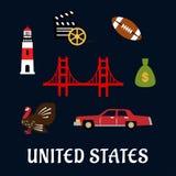 Barwione płaskie podróży Stany Zjednoczone ikony Obraz Royalty Free