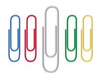 Barwione papierowe klamerki czerwienie, zieleń, błękit, kolor żółty Mieszkanie styl wektor ilustracja wektor