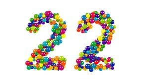 Barwione piłki w formie liczby dwadzieścia dwa Fotografia Royalty Free