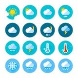 Barwione pogodowe ikony w mieszkanie stylu Różny unaocznienie klimat Dżdżysty i słoneczny dniu ilustracji