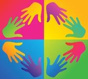 Barwione ręki w okręgu Obrazy Royalty Free