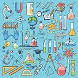 Barwione rzeczy nauki substancja chemiczna i biologia Wektorowa ręka rysować ilustracje ilustracji