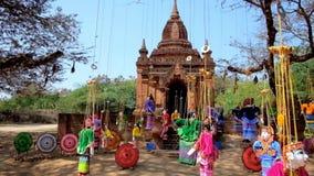 Barwione smyczkowe kukły, Bagan, Myanmar zdjęcie wideo
