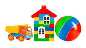 Barwione zabawki odizolowywać na białym tle obrazy royalty free