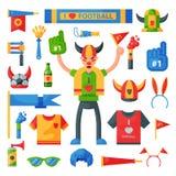 Barwionego futbolowego piłki nożnej fan atrybutu rooter mężczyzna sporta charakteru akcesoriów płowi narzędzia rozweselać dla twó Zdjęcie Stock