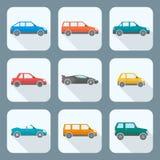 Barwionego mieszkanie stylu ciała różnorodni typ samochód ikony inkasowe Obrazy Royalty Free
