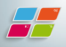 4 Barwionego skosu kwadrata Infographic PiAd Fotografia Stock