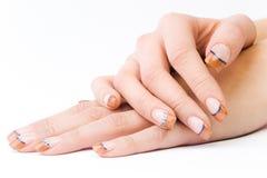 barwioni żeńscy paznokcie Obrazy Stock