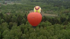 Barwioni balony lata nad lasem i chałupami zbiory wideo