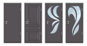 Barwioni drewniani drzwi odizolowywający na białym tle, realistyczny drewniany drzwi, colour różny drzwiowy projekt ilustracja, b royalty ilustracja