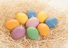 Barwioni Easter jajka kłama w gniazdeczku na białym tle Obrazy Royalty Free