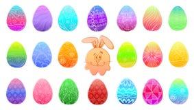 Barwioni Easter jajka odizolowywający na białym tle Ręka remis Wielkanocny symbol Śliczny kreskówka królik wśród Easter jajek ilustracji