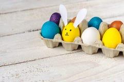 Barwioni Easter jajka z jajkowatym królikiem Obrazy Royalty Free