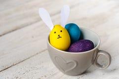 Barwioni Easter jajka z jajkowatym królikiem Fotografia Royalty Free
