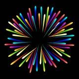 barwioni fajerwerki na czarnym tle tło jaskrawy spla zdjęcia stock