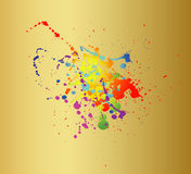 Barwioni farb pluśnięcia odizolowywający na złocistym tle Fotografia Stock