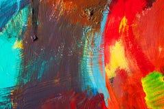 Barwioni farb uderzenia sztuki abstrakcjonistycznej tło Szczegół dzieło sztuki Dzisiejsza ustawa struktura kolorowa gęsta farba Zdjęcie Royalty Free