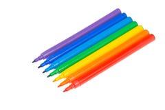 Barwioni filc pióra kłamają z rzędu Obrazy Stock