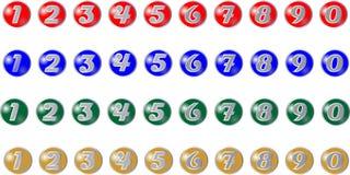 Barwioni guziki z liczbami Obrazy Royalty Free