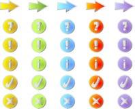 Barwioni guziki z symbolami Zdjęcia Stock