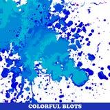 Barwioni kleksy na białym tle Zdjęcia Stock