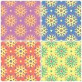 Barwioni kwieciści bezszwowi tła Set jaskrawi wzory z kwiatów elementami ilustracji