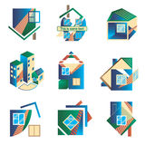 Barwioni logowie w postaci domów Zdjęcie Stock