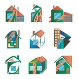 Barwioni logowie w postaci domów Obrazy Stock