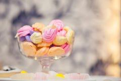 Barwioni marshmallows na rozmytym tle Zdjęcia Royalty Free